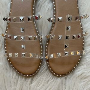 Clear Strap Spiked Sandals